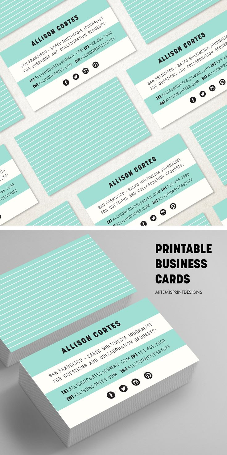 11 best business cards images on pinterest business cards teal stripes business card business card design modern business card calling card premade business card printable diy reheart Choice Image