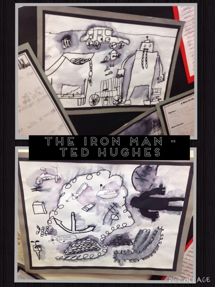 Class 4 (Years 3 and 4) Artwork inspired by The Iron Man by Ted Hughes.  The children created these pictures by sketching with a black felt tip, before using a wet brush to sweep over certain parts of their picture.