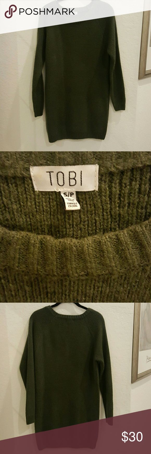 Olive green sweater dress s/p Sweater dress good condition,  real cute with boots !!! Tobi Dresses Midi
