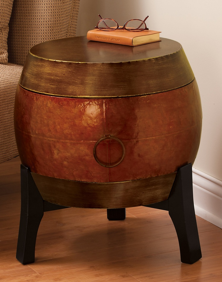 Asian Metal Drum Storage Table Want This For Between The Water Hyacinth  Slipper Chairs.