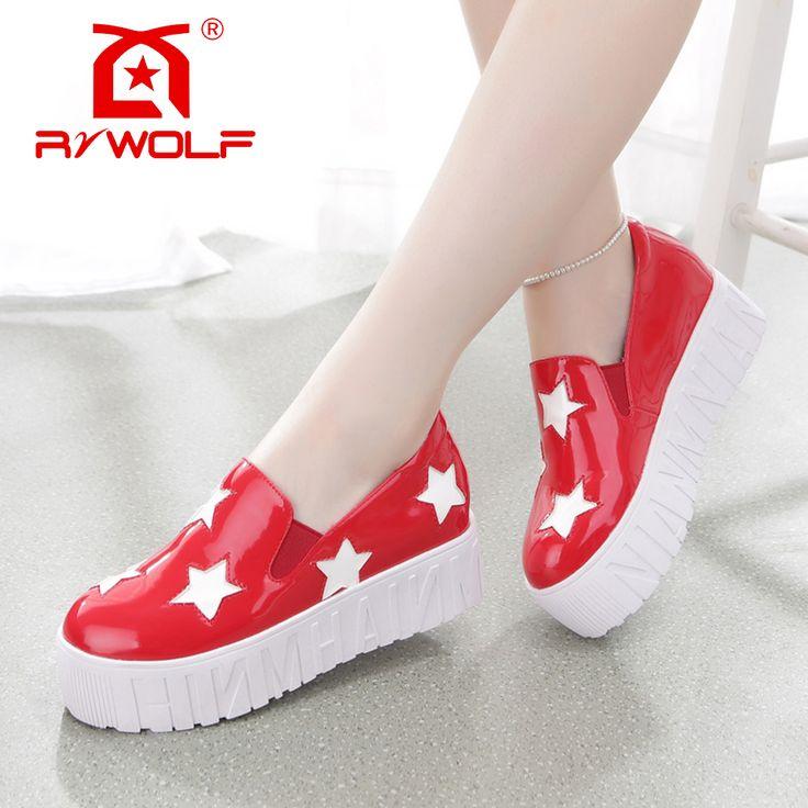 RZWOLF 2016 женская обувь chaussure femme горячая красная звезда патент PU скольжения на случайные высокий каблук туфли на платформе купить на AliExpress