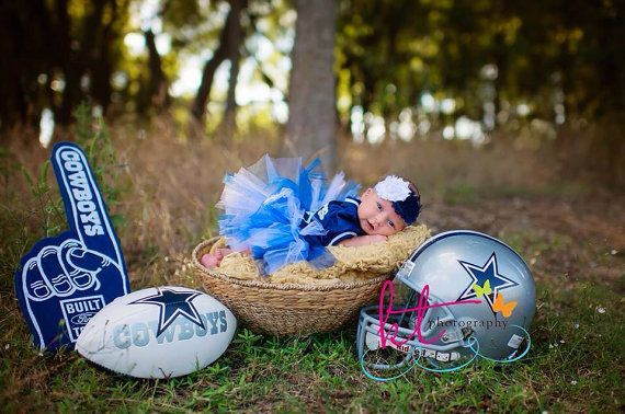 Cute picture idea for nect baby!  Baby girl outfit is cute too - Hey, I found this really awesome Etsy listing at https://www.etsy.com/listing/161975310/dallas-cowboys-baby-girl-shabby-flower newborn photos, sports themed newborn photos #baby #photography #newborn
