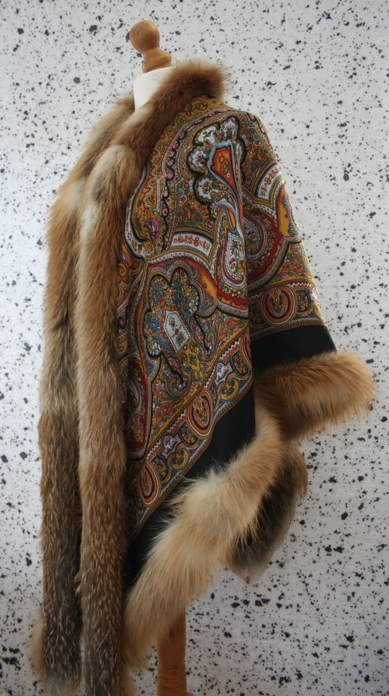 GENUINE REAL PAVLOVO POSAD GOLDEN FROST FOX FUR TRIMMED EX. FINE WOOL CAPE SHAWL