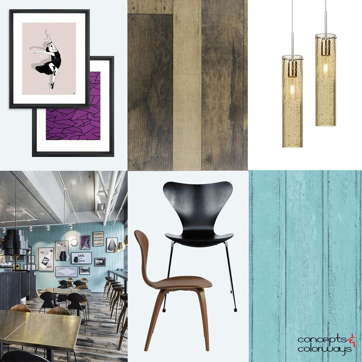 Turquoise And Wood Interior Mood Board, Black Bentwood Chair, Brown  Bentwood Chair, Light