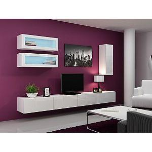 Nadčasová obývací stěna  VIGO 11 - lesk Bílá lesk
