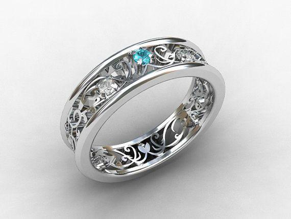 Aquamarine Engagement Ring Diamond White Gold Platinum Filigree Wedding Band Blue Jewelry