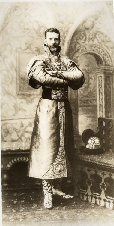 Grand Duke Sergei Alexandrovich of Russia dressed in a XVII century Russian costume for the Romanov Imperial Ball, April 1903.