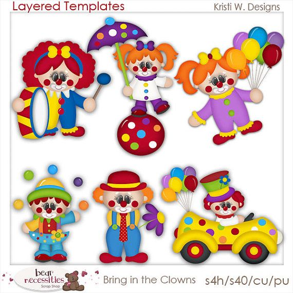NEW Bring in the Clowns PSD Templates by Kristi W. by marlodeedesigns, $5.00