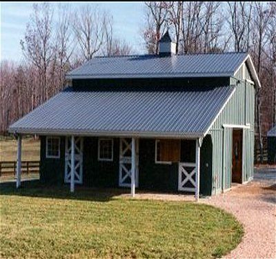 Small+Horse+Barn+Designs | Design features a 10' Overhang at one side and a Pro-Panel metal ...