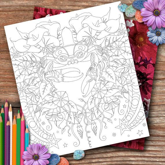 Cancer Flowers Colouring Page by OpulentOwlArtistry on Etsy