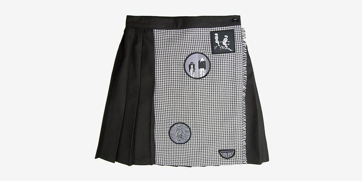 Mono Pleated Skirt with Post Punk Patches  SHOP NOW  #UndergroundEngland #UndergroundShoes #UndergroundSkirt #UndergroundSkirts #UndergroundClothing #HalfmoonClothing #Halfmoon #Underground #MadeinEngland #TartanSkirts #UndergroundTartan #PleatedSkirt