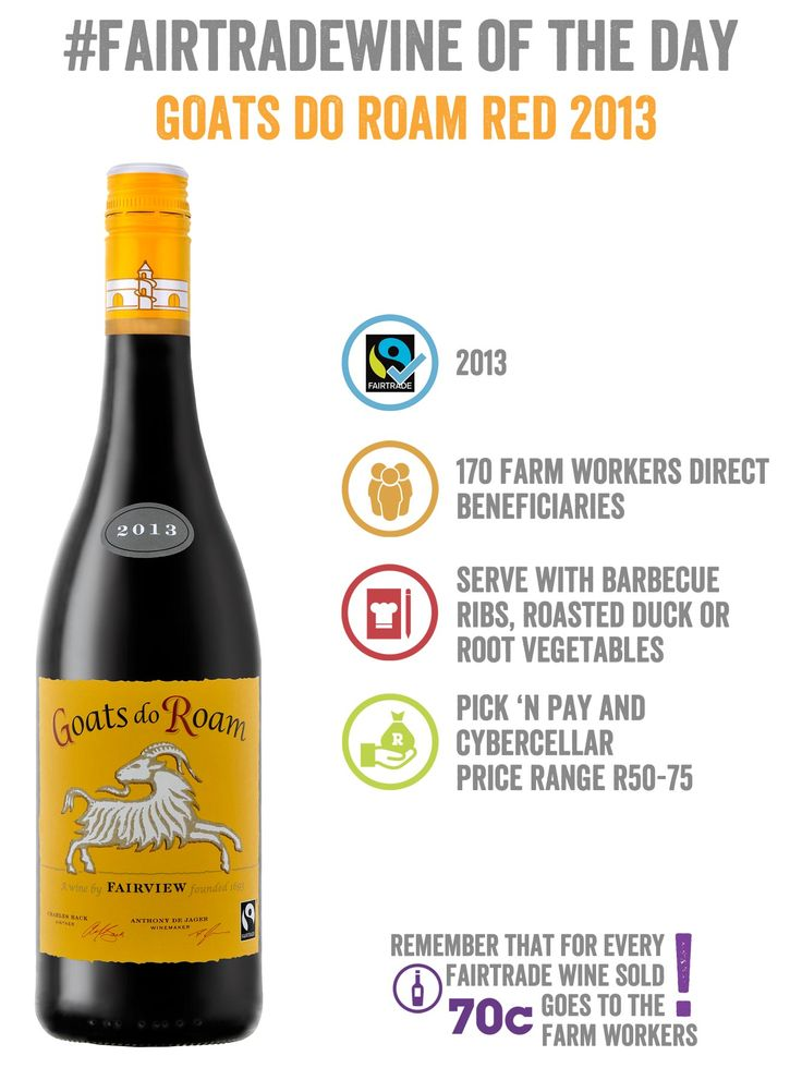 For all our BBQ rib lovers: a #FairtradeWine just for you. Goats do Roam's 2013 Red is a great pair for lip-smacking ribs, roasted duck or root veggies! Stop by Pick n Pay, order it from CyberCellar.com or if you're in Cape Town… hop in your car and visit the goats while sipping on a #Fairtrade wine at Fairview Wine Farm