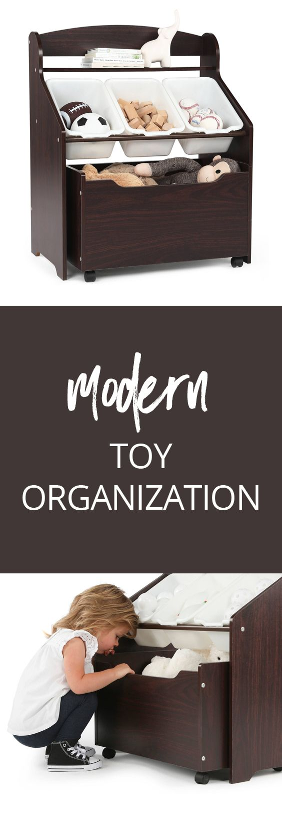 3-Tier Storage Organizer with Rolling Toy Box - perfect for organizing toys and books in style, no garish colors like most toy organizers #modern #toyorganization #organization #toys #declutter #ad #minimalist