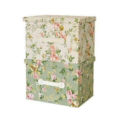 RayLineDo® Pack of 2 39L Foldable Storage Box Bag Clothes Storage Box Blanket Closet Sweater Organizer Canvas With Green and Pink Flower