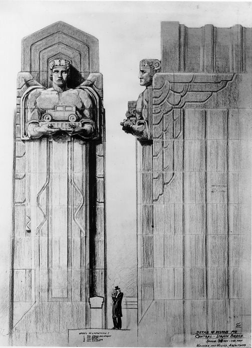 Cleveland An Elevation Drawing Of The Pylons For Lorain Carnegie Hope Memorial Rammed EarthElevation DrawingArt Deco ArtArchitectural