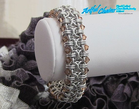 Handcrafted Chain Maille Beaded Byzantine Bracelet by ArtfulChains, $49.95