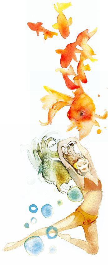 Maria Kask's.  illustration for horoscope section of the magazine Kattis & Co, monthly horoscope: Pisces. Watercolour.