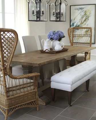 LOVE this look Casual Dining Furniture -  wicker chair, upholstered bench, and parson's chairs with a rustic trestle table.