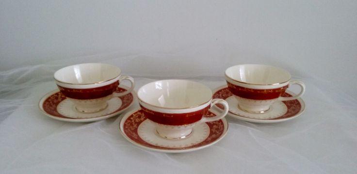 Homer Laughlin, Georgian, Craftsman Formal G58 China Tea Cup and Saucer Set of 3…