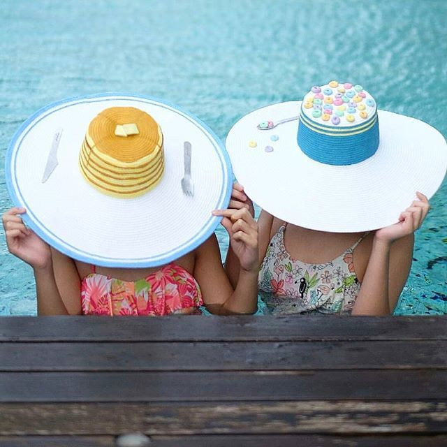 Each hat is carefully hand-painted using environmental friendly paint and ornamented with handcrafted details, so it wouldn't be exactly the same from one to another.  Spotted Summer & April wearing Butter Pancake Summer Hat & Froot Loops Cereal Summer Hat.  #iwearphilotopi #zerofoodwaste #stopglobalwarming