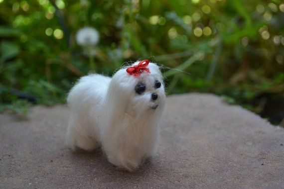Handmade Needle Felted Maltese Puppy With Red Bow Maltese