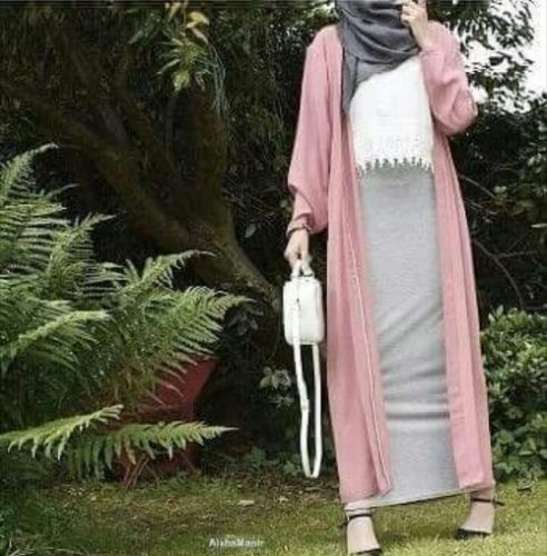 long pink cardigan with pencil skirt hijab outfit- Colorful fashionable hijab…