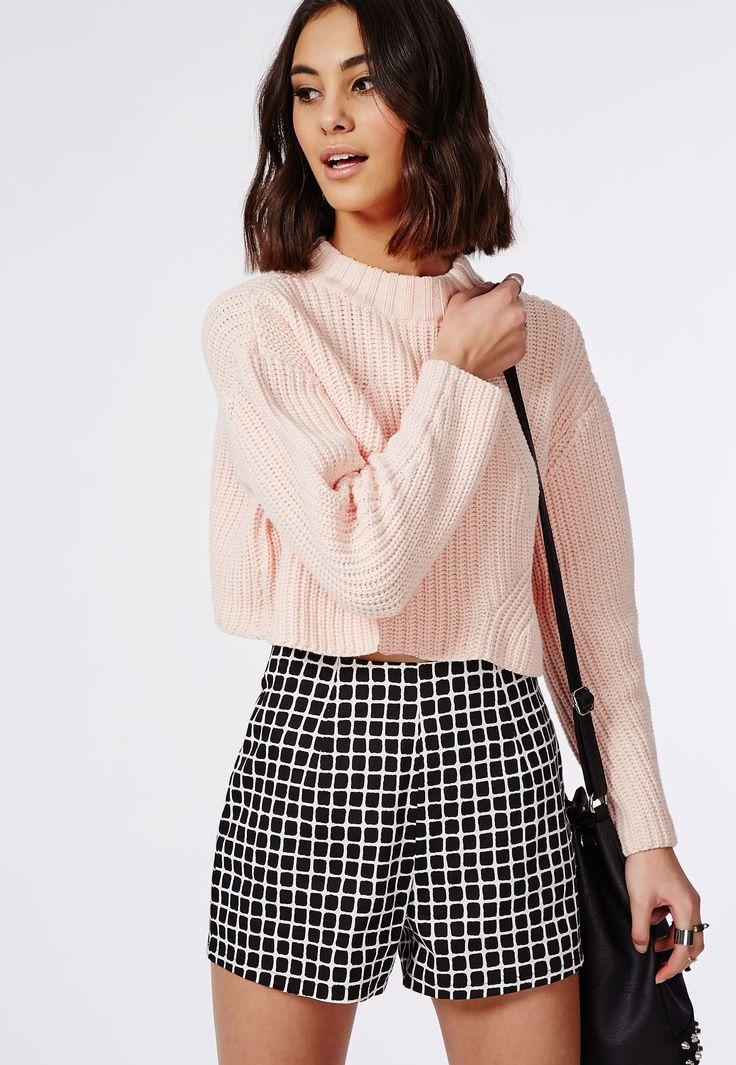 Short quadrillé noir taille haute - Shorts - Missguided