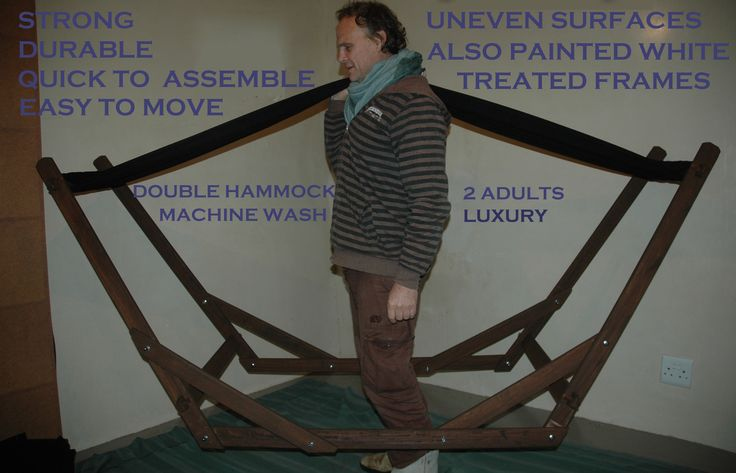 www.dreamtimehammocks.co.za The Eazilay Wooden Hammock Stand is easy to move around.