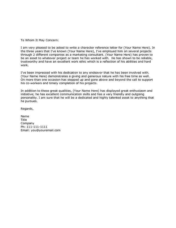 Character Letter Samples Template OpengovpartnersorgCharacter Reference Letter Formal letter sample