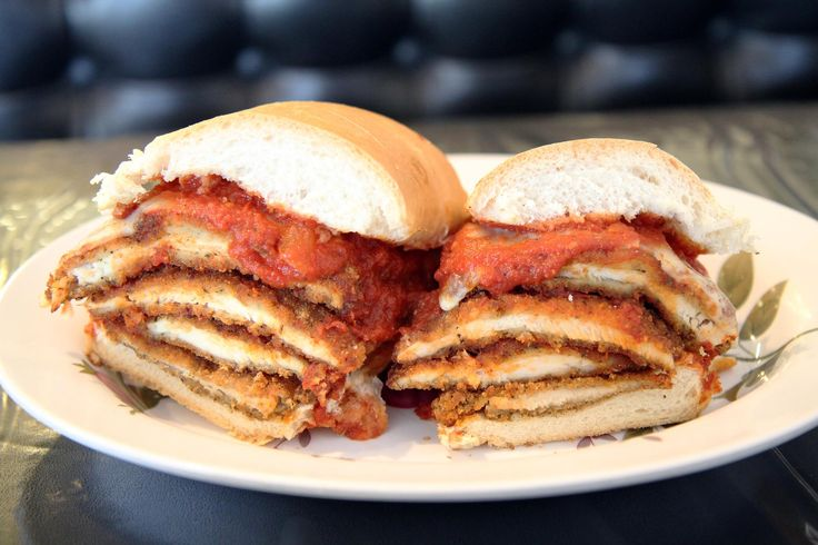 The flagship of the Wethersfield Pizza House sandwich menu is listed as 'Italian Style Chicken Cutlet.' In fact, it is four quite large cutlets piled up with sauce and provolone: an immense, and immensely satisfying sandwich. 8-inch and 16-inch lengths are available, as is a small size, on a round roll.
