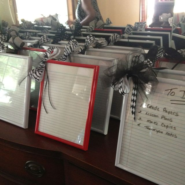 Teacher gifts! Frames from dollar store, notebook paper, and ribbon! Super easy!
