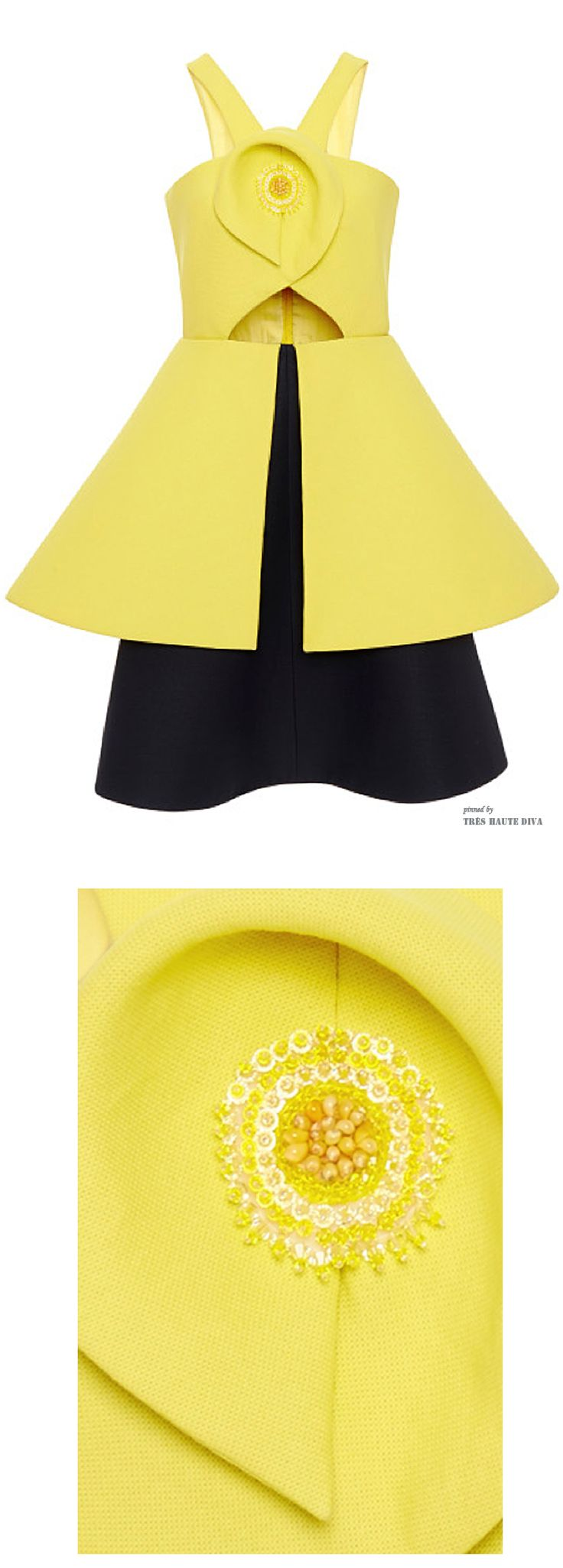 #NYFW SS 2015 Delposo Lemon Yellow Double Paper Twill Dress