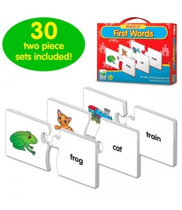 Match It! First Words teaches first words in an interactive way. Each card has two pieces-a picture of an object and the spellingof that object s name.