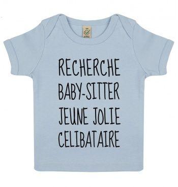 T-Shirt Manches Courtes 0-18 mois Blanc Recherche Baby-Sitter