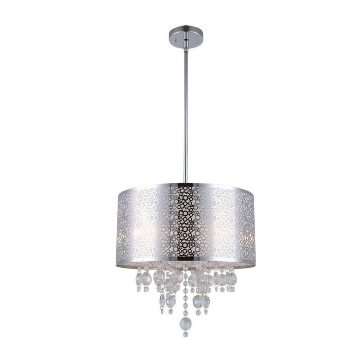 CANARM PIERA 4-Light Chrome Chandelier with Crystal Drops-ICH543A04CH16 - The Home Depot