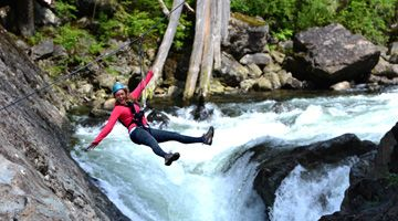 Zipline over Kennedy River on Vancouver Island