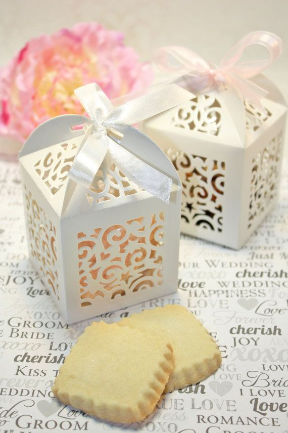 Shower Favors - Shortbread Cookie Favor Boxes - 30 White Boxes - Bridal or Wedding Favors