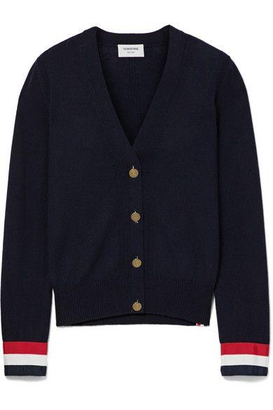 Thom Browne | Grosgrain-trimmed merino wool cardigan | NET-A-PORTER.COM