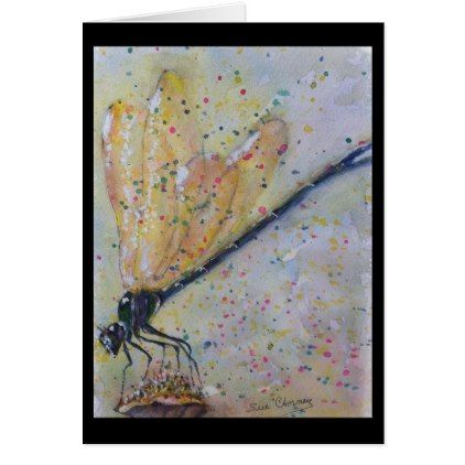 GOLDEN DRAGON FLY CARD - birthday cards invitations party diy personalize customize celebration