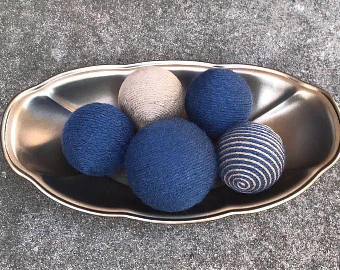 Bolas decorativas de hilo; Rellenos de florero; Bolas de hilo azul y Taupe; Bolas de Deco; Bolas de hilo; Orbes