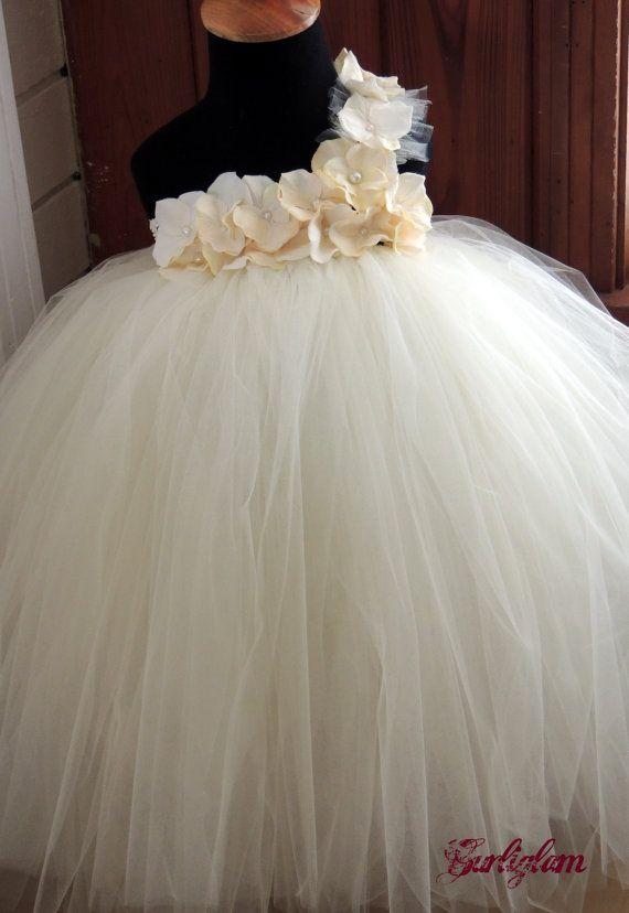 Ivory pearl tutu dress flower girl dress tutu dress by Gurliglam, $92.00
