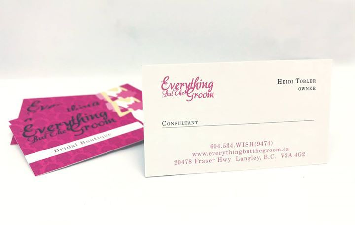 Everything But The Groom Bridal Boutique printed these fun and pretty pink business cards that convey a clear message of experience and confidence in preparing for your big day.