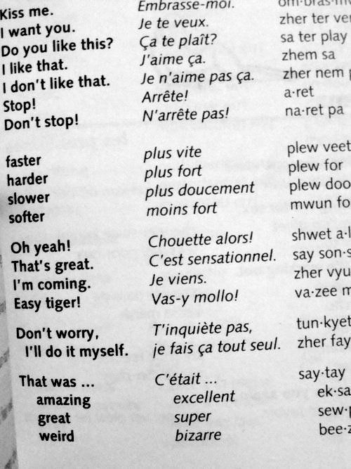 ;)  say it in french