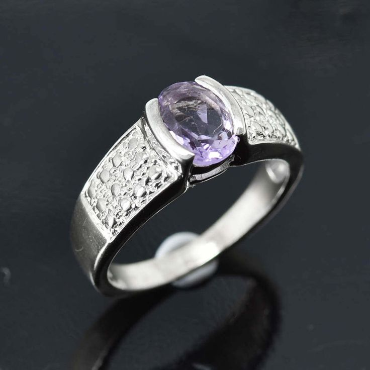 Amethyst Ring, 1.25 ct, Purple, Oval Cut, Birthstone Ring, February, Gemstone Ring, Sterling Silver Ring, Solitaire Ring, Statement Ring by JubileJewel on Etsy