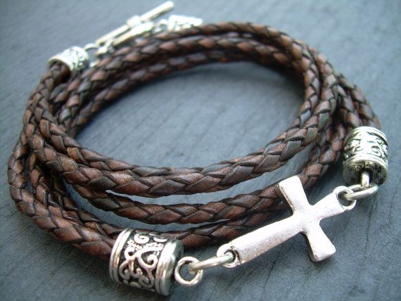 Braided Leather Bracelet Antique Brown por UrbanSurvivalGearUSA