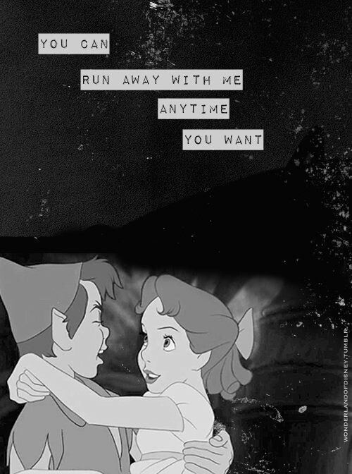 peter pan I will run away with you peter let all my troubles go