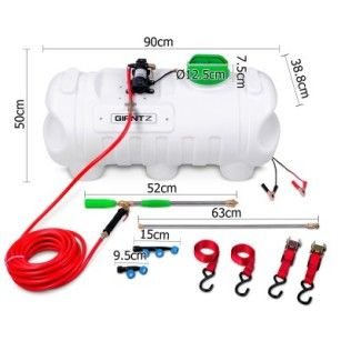 This 100L weed sprayer pump is 12DC powered to provide 80PSI http://www.rosaelonline.com.au/product/12v-atv-garden-weed-sprayer-pump-unit-100l/