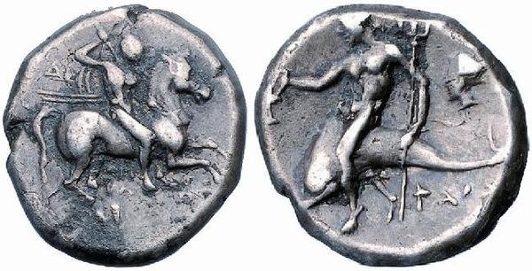 Didramma minted in the greek colony of Taras (modern Taranto, Italy) dating to the period 334-330 BCE.  Front: a warrior galloping, wielding a spear in his right hand - Retro: Taras, the eponym founder of the city, riding the dolphin holding a trident in his right hand and a shield with the left.