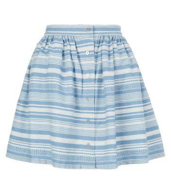 Blue Stripe Button Up Skater Skirt