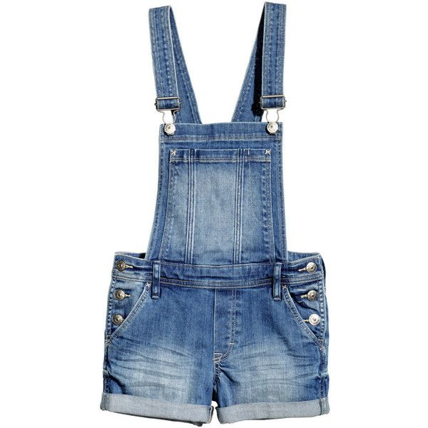 Bib Overall Shorts $29.95 ($30) ❤ liked on Polyvore featuring shorts, dresses, bottoms, jumpsuits, short overalls, bib overalls shorts, cuffed shorts, overalls shorts and overall shorts